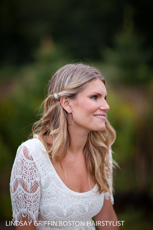 Boston wedding hairstylist Lindsay Griffin for engagement photo shoots at Brooksby Farm Smith Barn