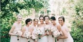 A bridal party with their boquets